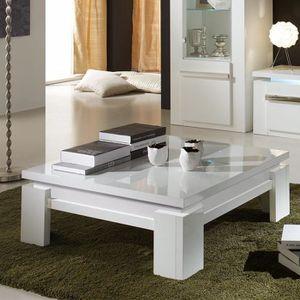 TABLE BASSE Table basse carrée design blanc laqué LUBIN Blanc