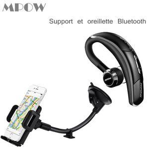 OREILLETTE BLUETOOTH Mpow Support téléphone voiture Fixation et Ecouteu