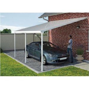 ABRI JARDIN - CHALET Toit de terrasse en alu blanc et polycarbonate 4 x