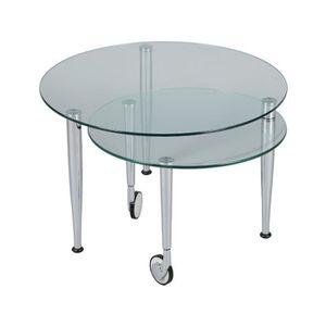 TABLE BASSE Table basse articulée Acier/Verre sur roulettes -