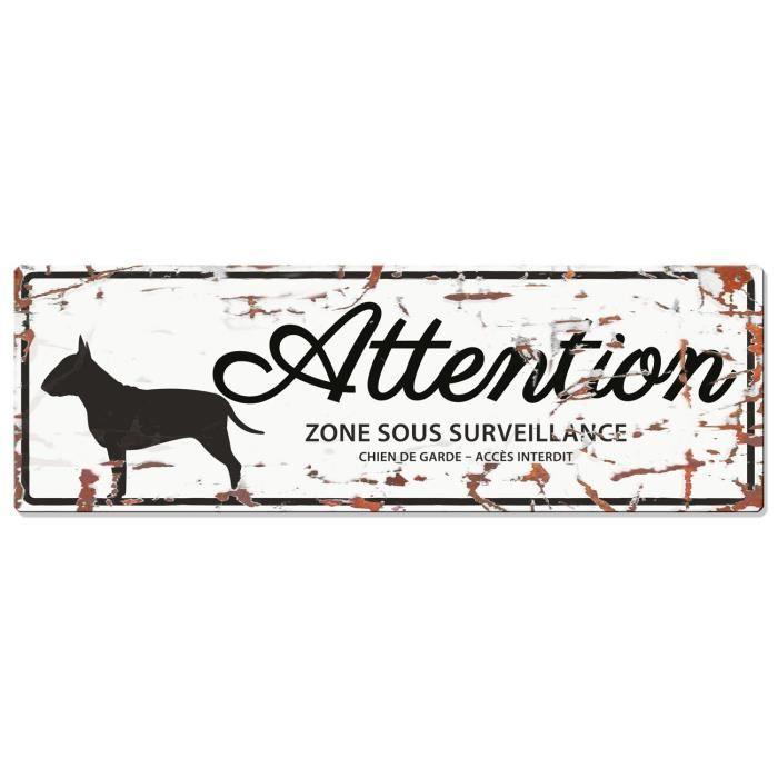 D&D Plaque Attention Chien Bull Terrier - Blanc