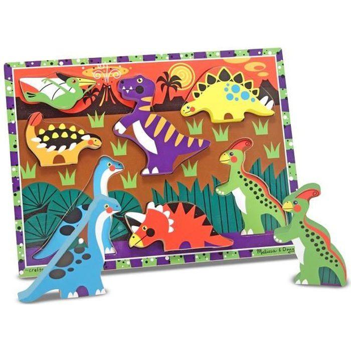 Puzzle à Grosses Pièces En Bois - Dinosaures - Garçon et Fille - A partir de 2 ans - Livré à l'unitéPUZZLE