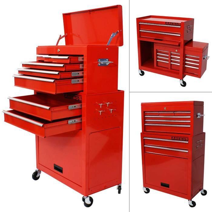 chariot outils servante d 39 atelier rouge coffre malle rangement amovible achat vente. Black Bedroom Furniture Sets. Home Design Ideas