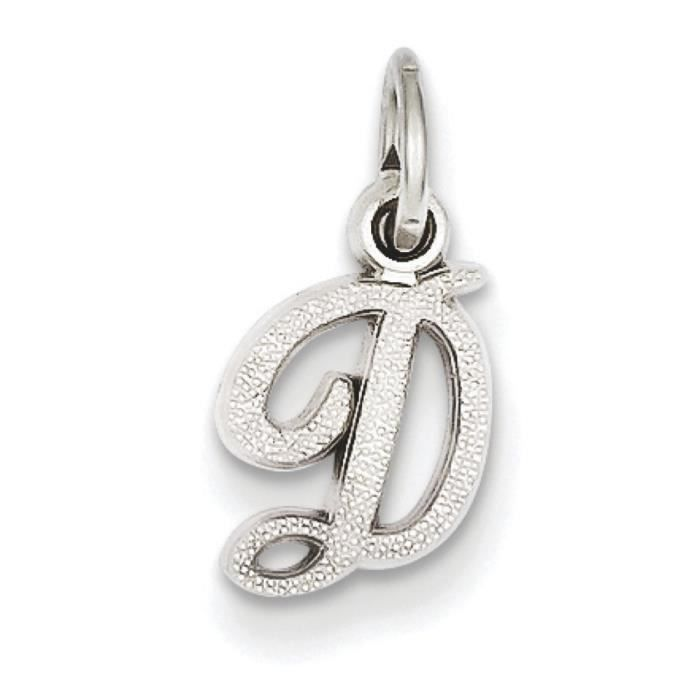 Or blanc 14carats Initiale D Charme–Dimensions 16,8x 7.9mm–16