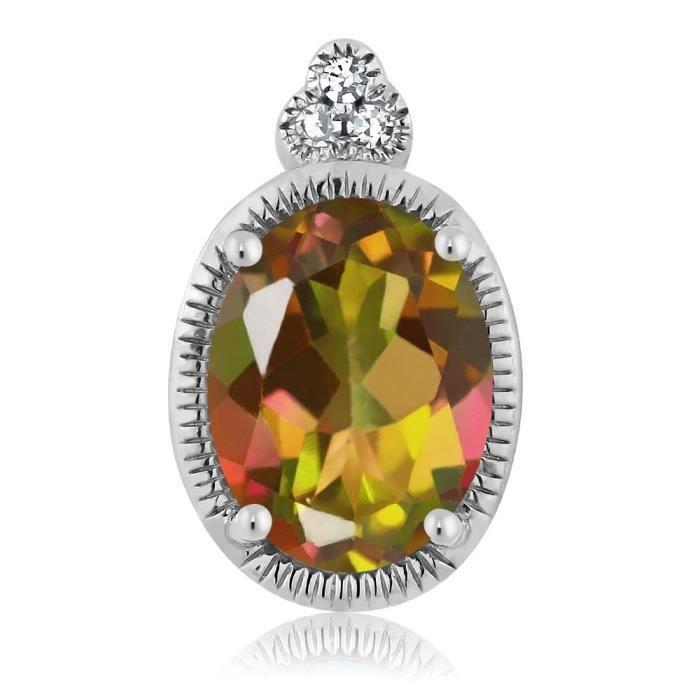 Pendentif En Or Blanc 10k - Topaze Mystique mangue ovale et Diamant avec chaine - 0.80 ct