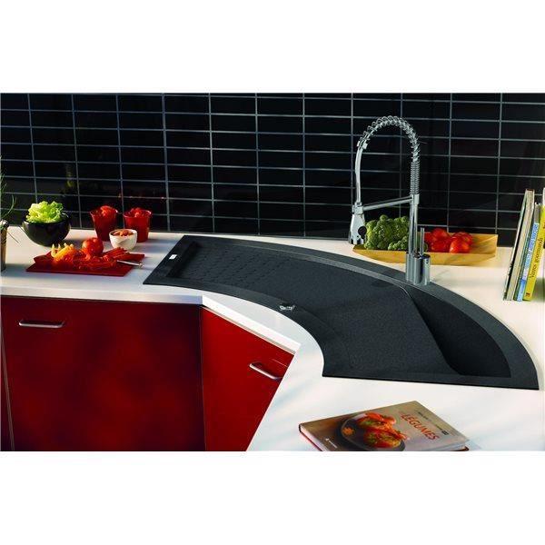 evier d angle de cuisine a encaster 1 cuve en minerale composite