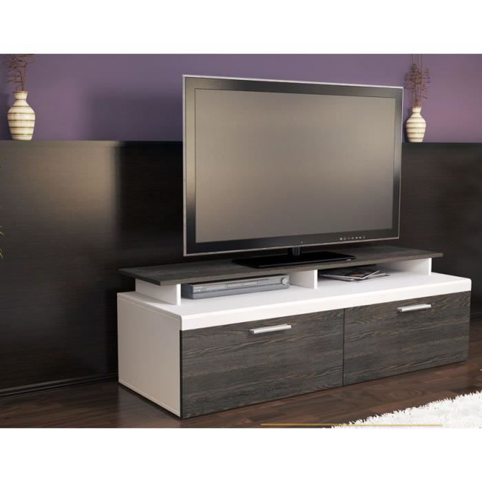 beau MEUBLE TV Meuble TV blanc/bois wengé 140 cm
