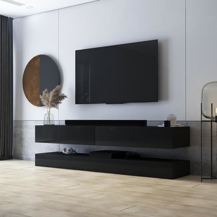 Meuble Tv Meuble De Salon Aviator 140 Cm Noir Mat Noir