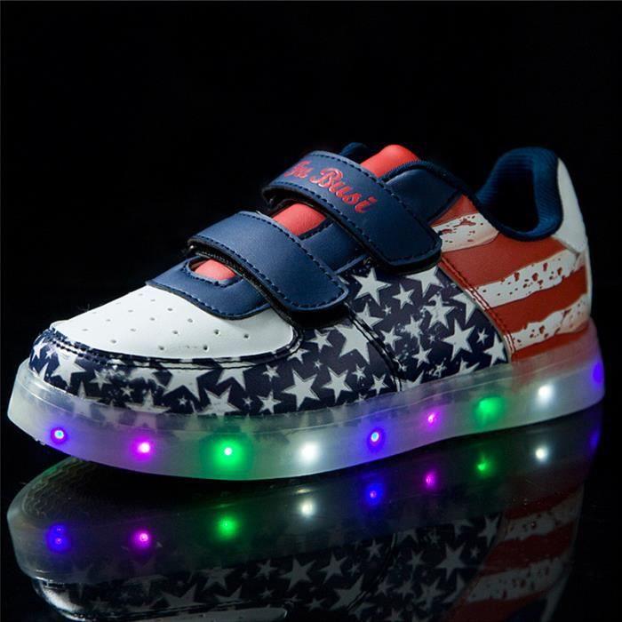 Étoile Motif Bleu Chaussures 7 Changement de couleur d'éclairage LED clignotant Enfants Garçon Sneakers avec USB pour Prom Party nKVV79