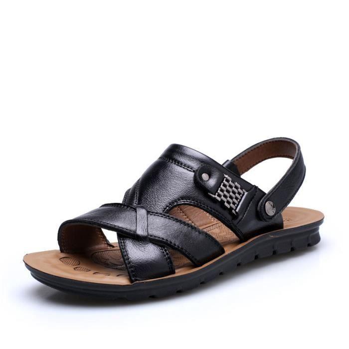 Sandales Cuir Chaussures Homme Noir