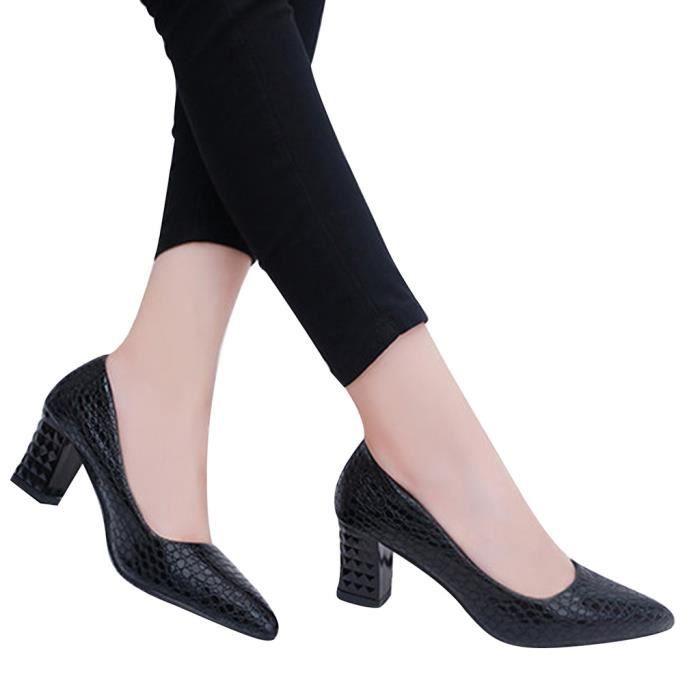 HEE GRAND Escarpin Femme Chaussures Peau de Serpent Élégant Talons Épais Automne q95r0m