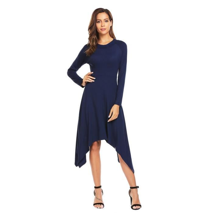 Robe Femmes à manches Longues Large Swing Asymmetric Slim Fit Solid