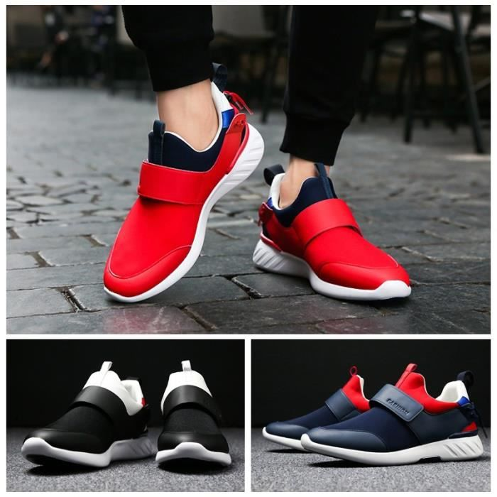Skateshoes Homme Velcro Casual Round Toe Shoesantiusure Sneakers rouge taille6.5