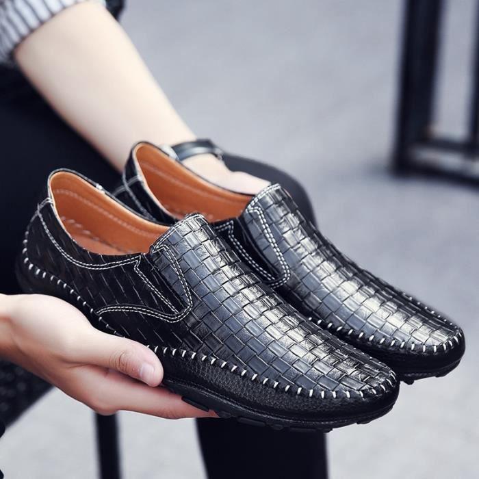 cuir décontractés pour automne été sur Slip Mocassins Driving Crocodile Nouveau Flats hommes en les Motif Mode véritable Xqf4zzYxwA