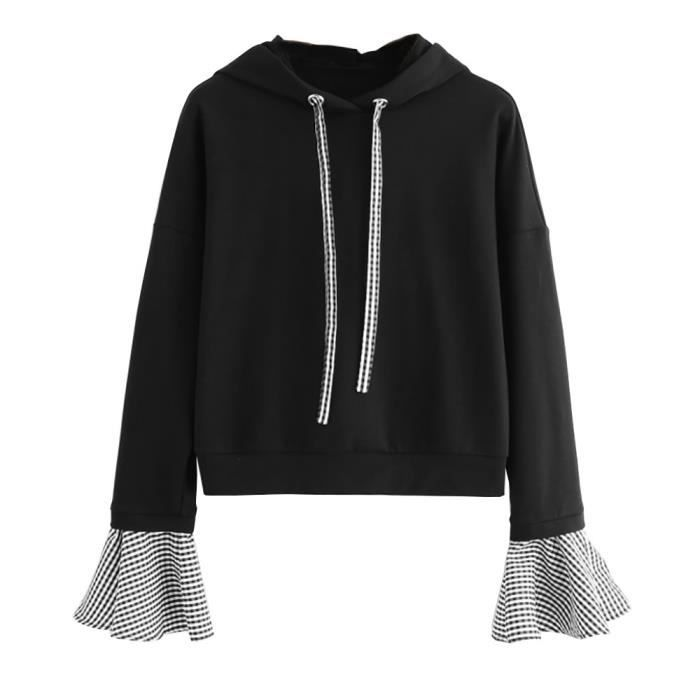 exquisgift®Femmes dames Sweat à capuche à manches longues plaid patchwork chemisiers pull Tops Noir CCC71104441