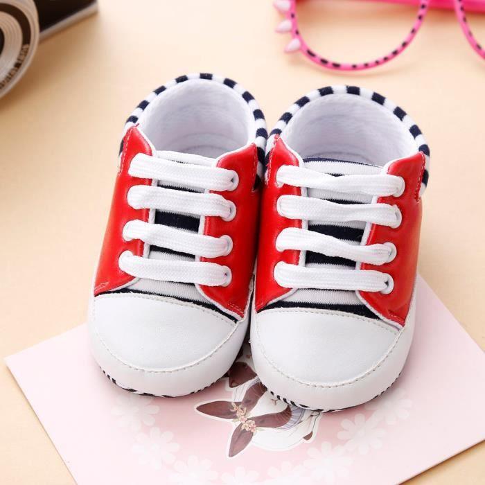 BOTTE Nouveau-né Infantile Bébé Filles Crib Chaussures Doux Semelle Anti-slip Sneakers Bandage Chaussures@RougeHM