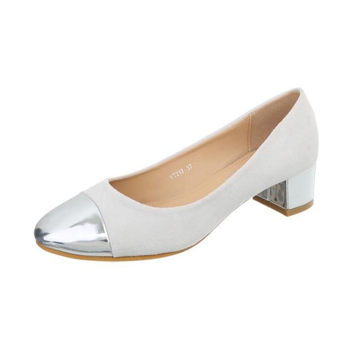 b7d26a2108145 Chaussure femme escarpin gris argent - Achat   Vente pas cher