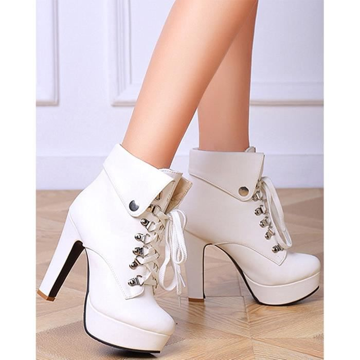 Hiver Talons Lacer Femme Stylet Automne blanc Noir Bottes Tomwell beige Boots Chaussures Martin Haut Mode c8YEwaqd
