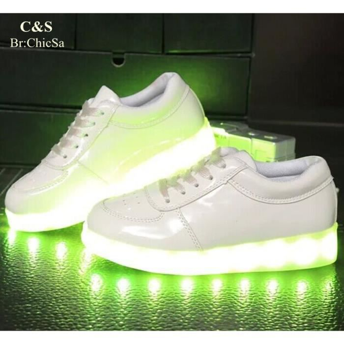LED éclairage Enfant Chaussures 7 Couleurs Mode Superstar Glow Chaussures USB Charge Basket Sport Femme Chaussure Lumineuse KOuTQ1eFft
