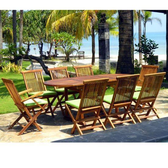 Salon de jardin en teck huilé ensemble Bali 8 places + coussins ...