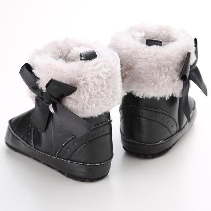 Bébé Bottes de neige Tendance Loisirs Fond mou Garde au chaud Chaussures de bébé en bas âge-noir