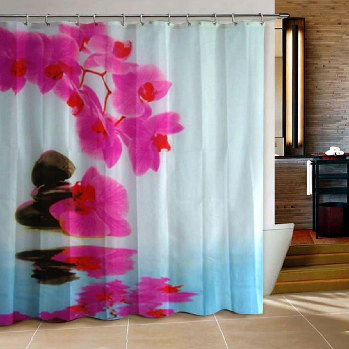 Rideau De Douche D Orchidee Impermeable 12 Crochets Salle De Bains