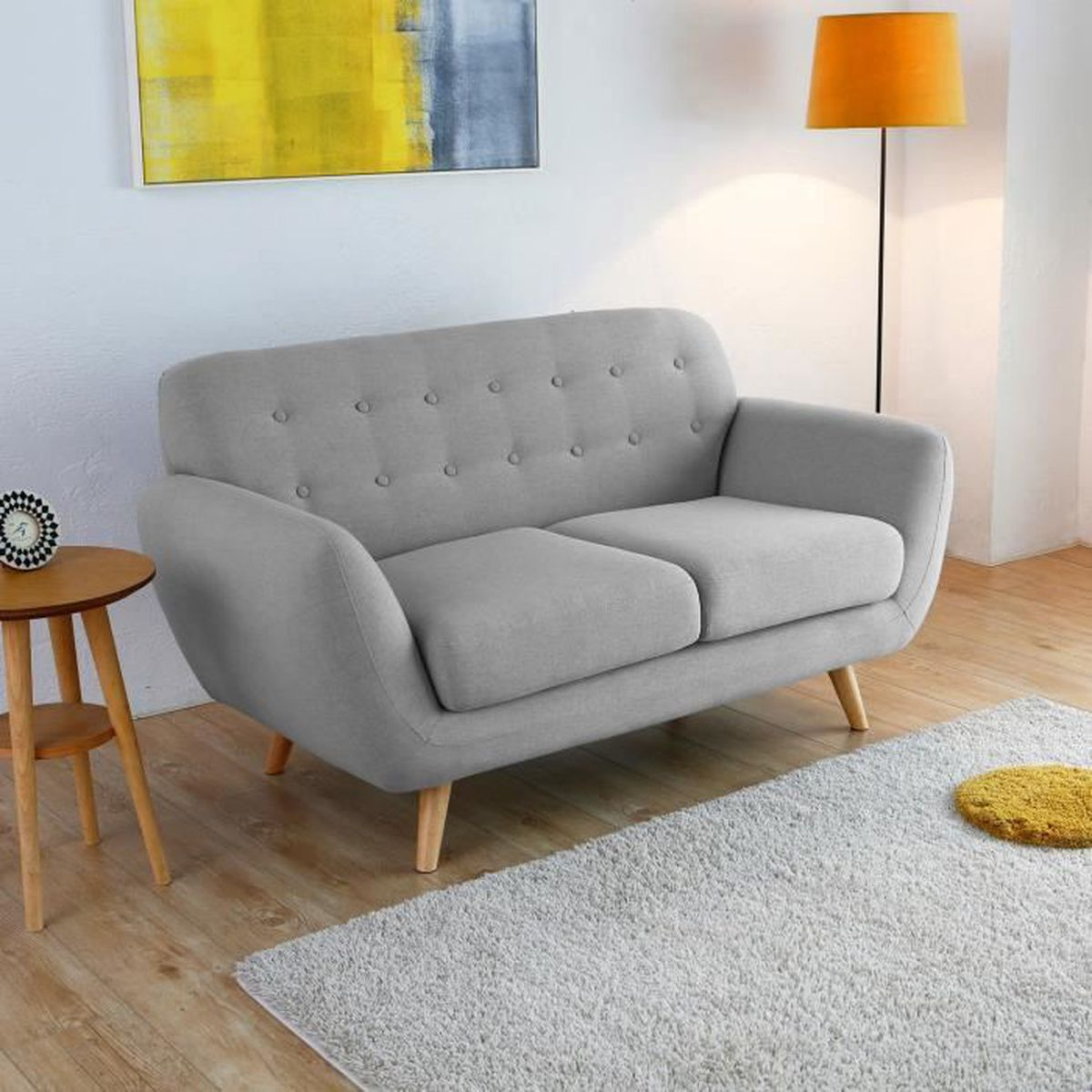 helsinki 2p canap scandinave 2 places gris clair achat vente canap sofa divan. Black Bedroom Furniture Sets. Home Design Ideas