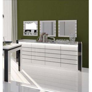 BUFFET - BAHUT  Buffet LINA blanc et noir avec LED + 3 miroirs