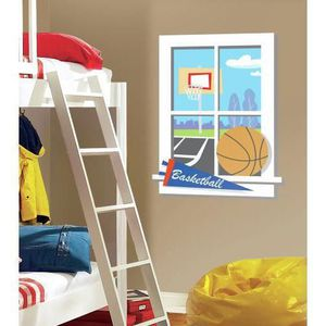 STICKERS Fenêtre avec vue sur terrain de basket ball XXL st