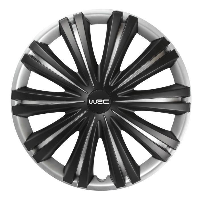 WRC 4 Enjoliveurs 15 Pouces Noir Mat Gris