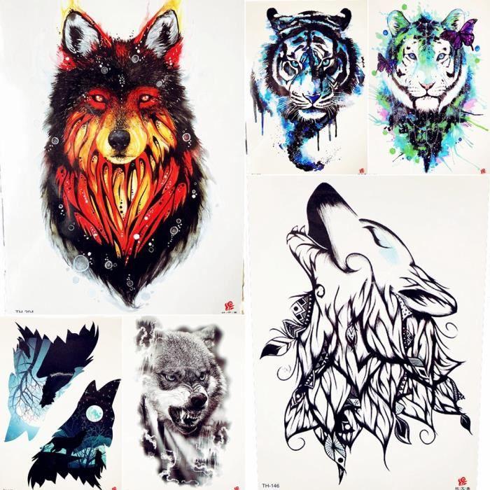 6 Morceaux Feu Rouge Indien Loup Tatouage Temporaire Flash Hommes