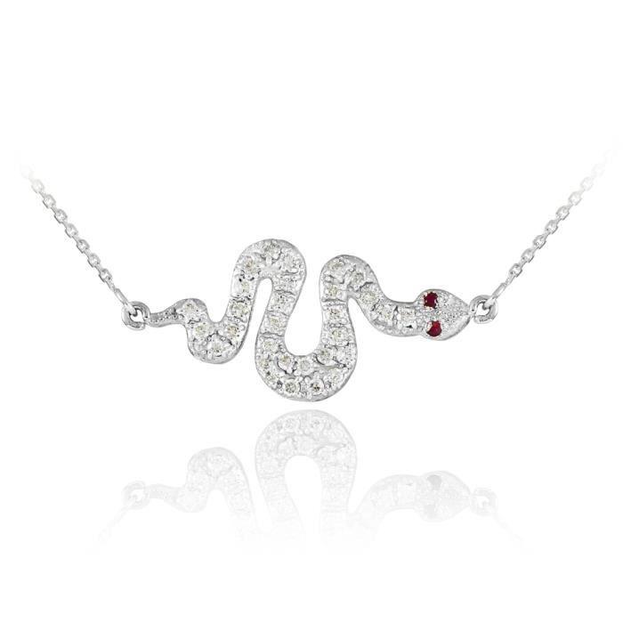 Pendentif 14 ct Or Blanc 585/1000 Diamant serpentpendentif accents Rubis côté-avec