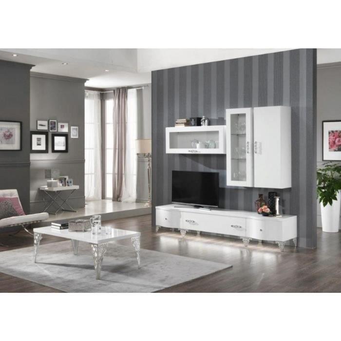Ensemble Salon Design Complet Avec Vitrines Murales Coloris Blanc