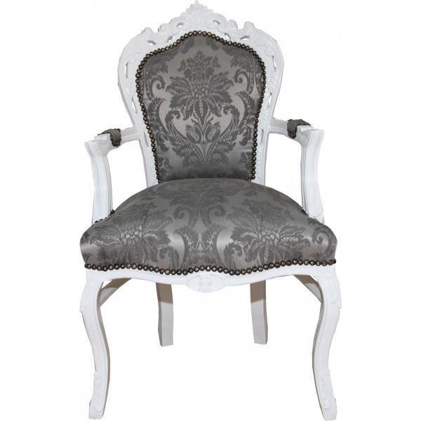 Casa Padrino Baroque Chaise De Diner Avec Accoudoirs Gris Motif Blanc