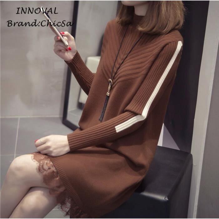 Mode Automne Hiver Robe en Tricot Femme En vrac Couture de Dentelle Sexy Robe Courte Nouveau Manche Longue Pull Robe Vêtement Marron