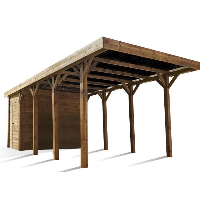 Madeira carport autoportant en bois 13m avec rangement 3 for Garage voiture paiement 4 fois sans frais
