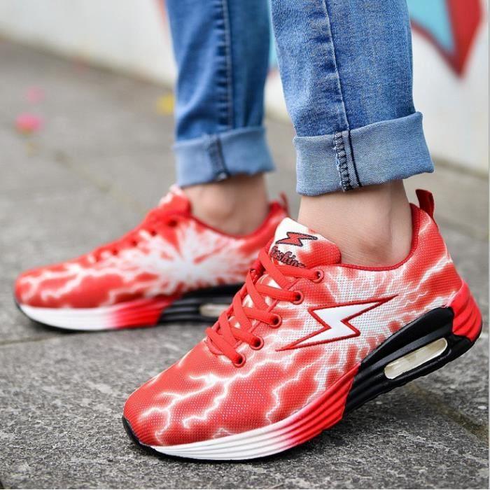 Les nouveaux éclairs d'été Netshoes fluorescentes chaussures respirant creux chaussures lovers étudiants-rouge U8QQU19