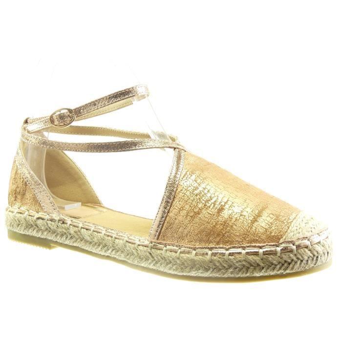 Angkorly - Chaussure Mode Espadrille Sandale ouverte femme peau de serpent multi-bride corde Talon bloc 2 CM - Champagne - LX137 T