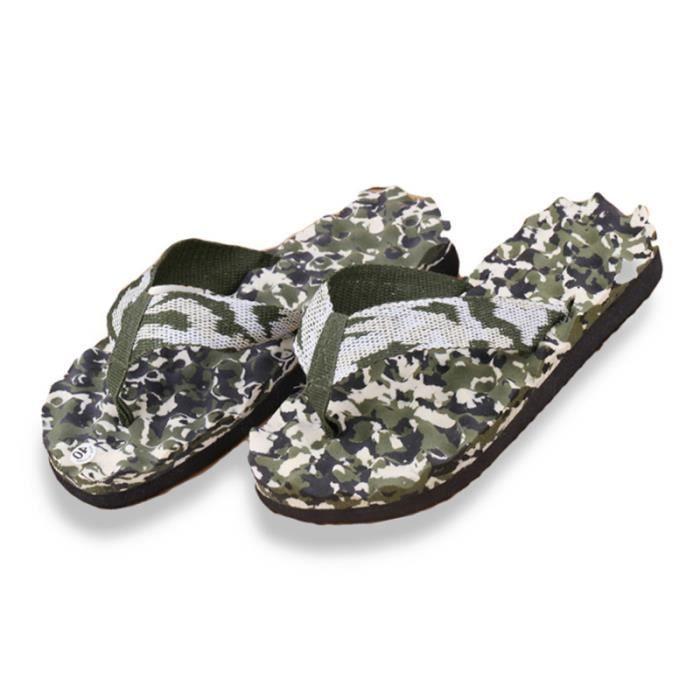 D'été Hommes Chaussure Nouveau Camouflage Sangle Doux Plat avec Sandales Solide Maison Pantoufles De Massage Plage Casual Flip Flops