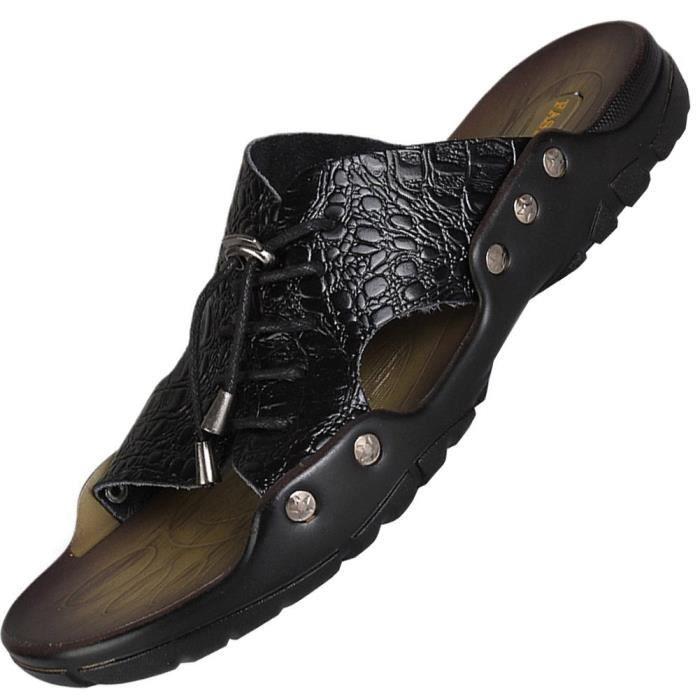 Dégagement en cuir ouvert Slip Toe Pantoufles Sandales d'été Chaussures Tongs WO4QN Taille-36 0w6CUj