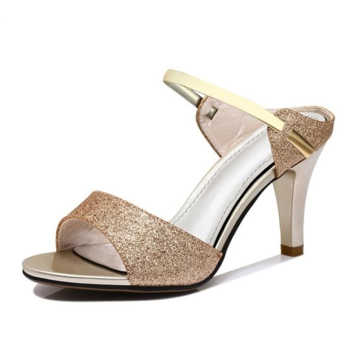 2018 été ouvert orteil bien avec une chaussure de sandale de boucle métal mot