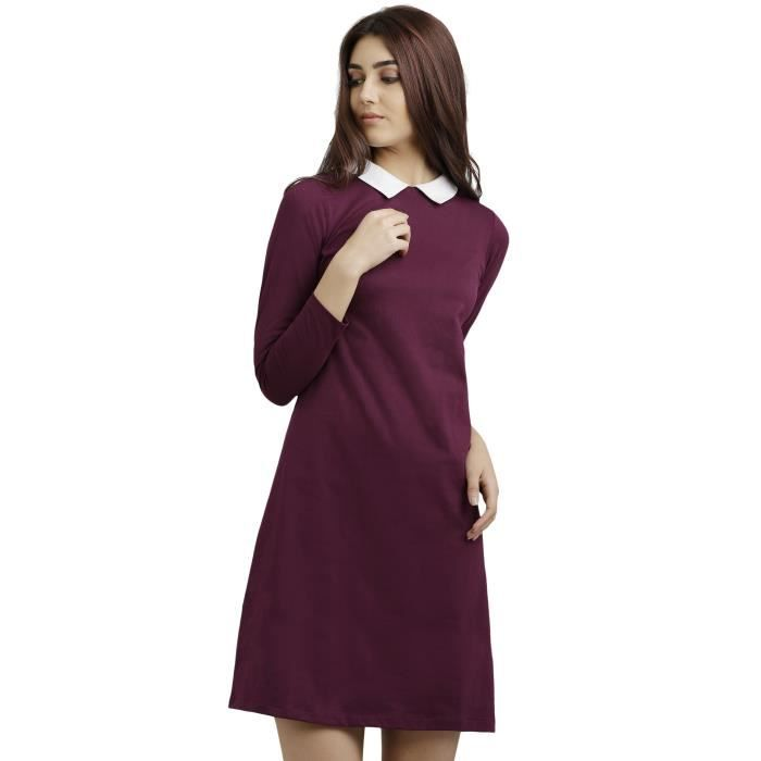 Womens Magenta Collar Neck Full Sleeve Solid Knee-long Shift Dress 1ZS4Q1 Taille-32