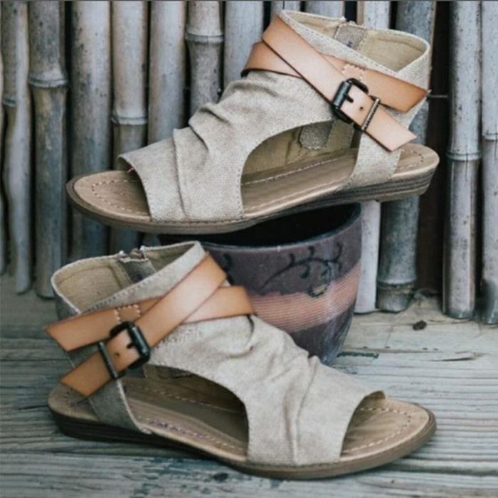 Confortabl35 E Souple Plages Été Nu Semelle Chaussures Couleur Kaki À Pieds Homme Exposés Simple Sandales Denim Orteils CBerdox