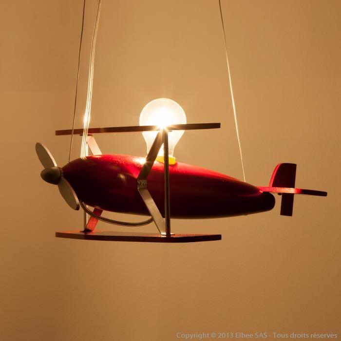 suspension avion en bois largeur 40cm avion rouge achat vente suspension avion en bois la. Black Bedroom Furniture Sets. Home Design Ideas