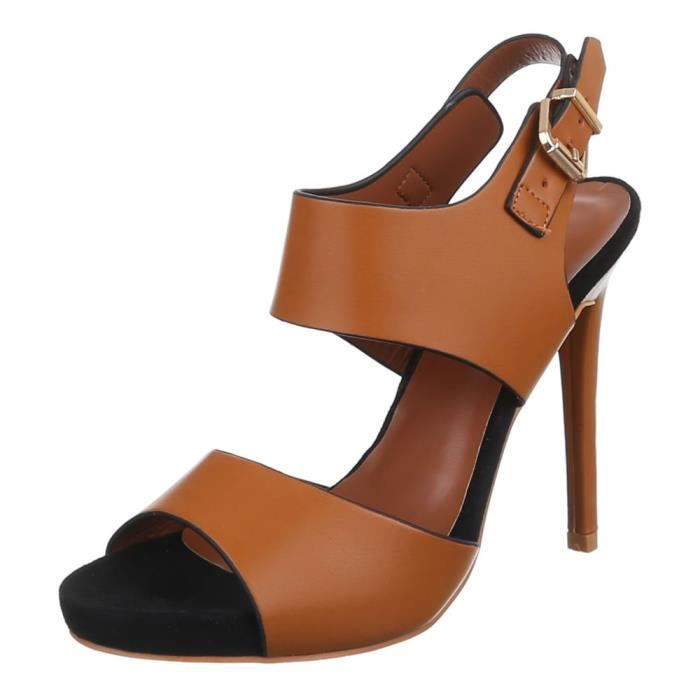 Chaussures femmes sandales Talon haut Escarpins marron