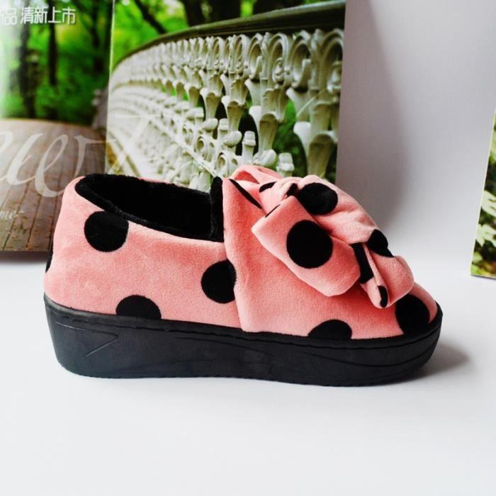 Hiver pantoufles mignon haut de gamme pantoufles en coton dames maison pantoufles épaisses chaussures d'intérieur chaussures de