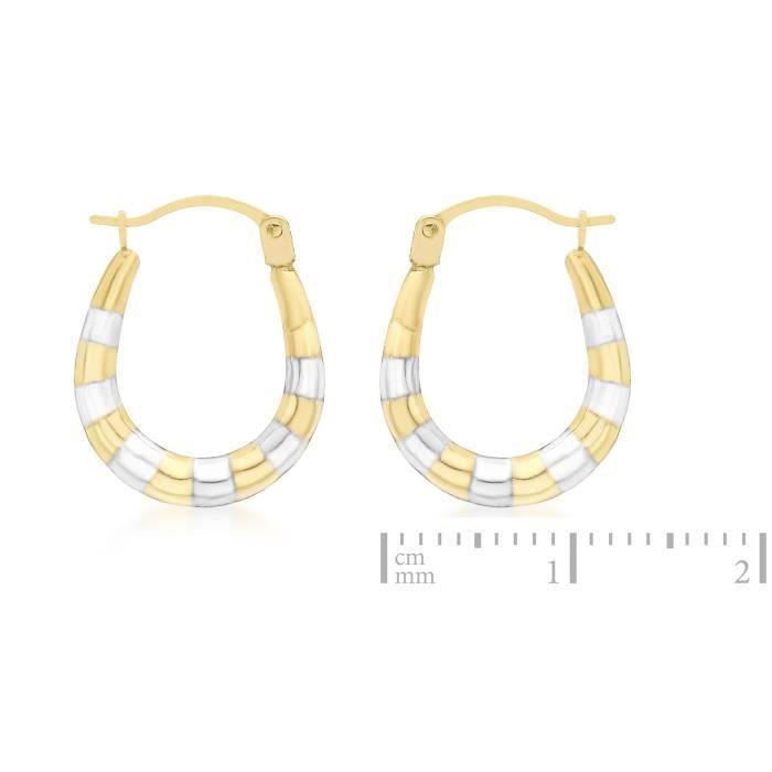 Boucles Doreilles Créoles - Or Bicolore 9 Carat - 375-1000 UVYRE