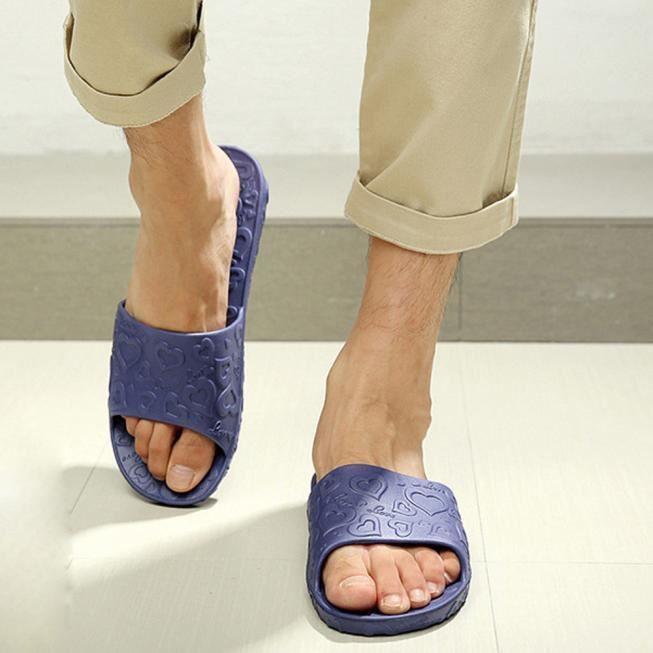Imprimer Pantoufles Amour Foncé Flat amp; Bath Antidérapage Outdoor Bleu Indoor Homme FESqXvxn