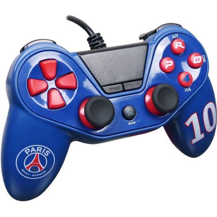 Paris Saint Germain Manette Pro4 Wired pour PS4 PS3 et PC Bleu