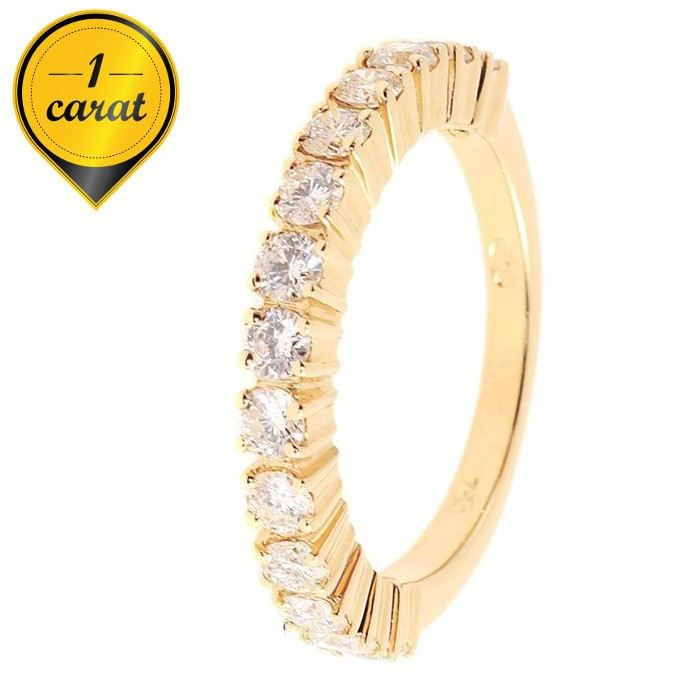 MONTE CARLO STAR - Demi-Alliance en Or Jaune 18 Carats et Diamants Sertis 4 Griffes - Femme